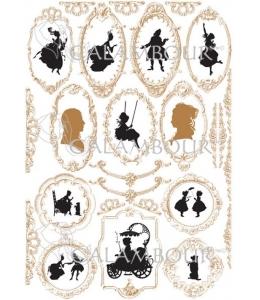 """Рисовая бумага для декупажа з золотом Calambour Pau-082 """"Силуэты в рамочках"""", 35х50 см, 20 г/ м2"""