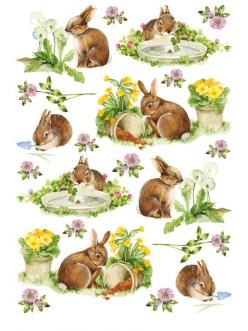 Рисовая бумага для декупажа Calambour RP-53 Милые кролики, 35х50 см