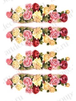 Рисовая бумага для декупажа Calambour RP-64 Розы, 35х50 см