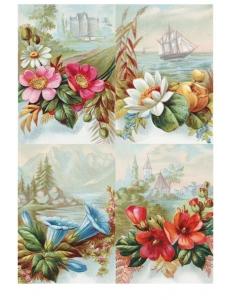 """Рисовая бумага для декупажа Calambour RP-65 """"Цветы и старинный пейзаж"""", 35х50 см"""