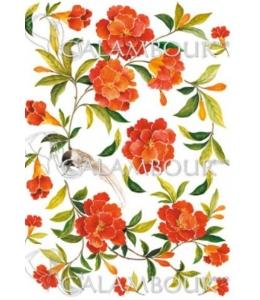 """Рисовая бумага для декупажа Calambour RP-67 """"Экзотические цветы"""", 35х50 см"""