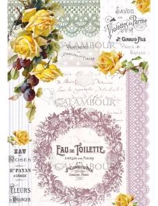 """Рисовая бумага для декупажа Calambour TCR 14 """"Парфим и розы"""", 35х50 см, 20 г/см2"""