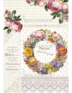 """Рисовая бумага для декупажа Calambour TCR 16 """"Парфим Парижские розы"""", 35х50 см, 20 г/см2"""