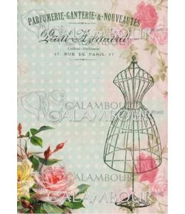 """Рисовая бумага для декупажа Calambour TT01 """"Розы и манекен"""", 24,75х34,5 см"""