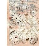 """Рисовая бумага для декупажа Calambour TT08 """"Часы микс"""", 24,75х34,5 см"""