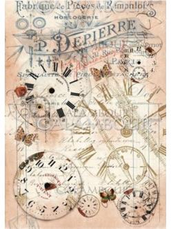 Рисовая бумага для декупажа Часы микс, 24,75х34,5 см, Calambour TT08