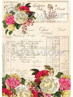 Рисовая бумага для декупажа Роза и дневник, 24,75х34,5 см, Calambour TT012