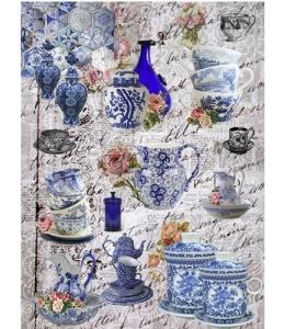 """Рисовая бумага """"Голубая посуда"""" 21×29,7 см, Craft Premier"""