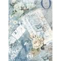 """Рисовая бумага CD01839 """"Голубой коллаж"""", 28,2х38,4 см, Craft Premier (Россия)"""