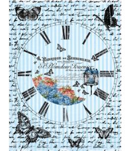 "Рисовая бумага CP00539 ""Часы с бабочками"", 28,2х38,4см, Craft Premier (Россия)"