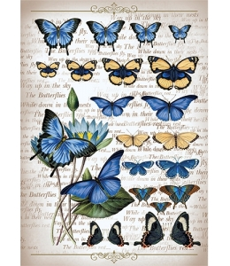 """Рисовая бумага CP00559 """"Коллекция бабочек"""", 28,2х38,4 см, Craft Premier (Россия)"""