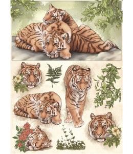 "Рисовая бумага CP00726 ""Тигры"", 28,2х38,4 см, Craft Premier (Россия)"