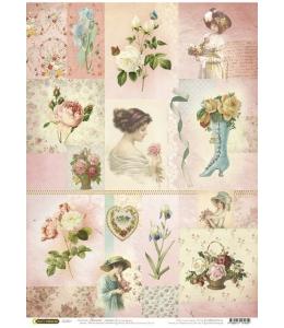 """Рисовая бумага """"Цветы и дамы"""", 21x29,7см Craft Premier"""