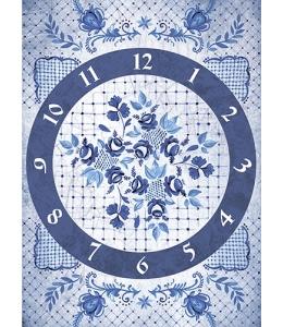 """Рисовая бумага CP01872 """"Гжель, часы"""", 28,2х38,4 см, Craft Premier (Россия)"""