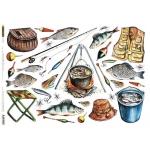 "Рисовая бумага CP04143 ""Рыбалка"", 28,2х38,4 см, Craft Premier (Россия)"