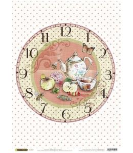 "Рисовая бумага CP04174 ""Часы Чаепитие"", 28,2х38,4 см, Craft Premier (Россия)"