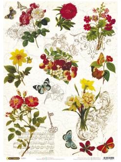 Рисовая бумага для декупажа Бабочки, цветы, орнамент, 21x29,7см, Craft Premier