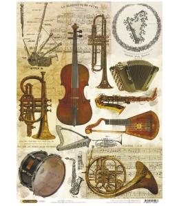 """Рисовая бумага CP04266 """"Музыкальные инструменты"""", 28,2х38,4 см, Craft Premier (Россия)"""
