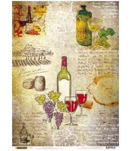 """Рисовая бумага CP04334 """"Карта вин"""", 28,2х38,4см, Craft Premier (Россия)"""