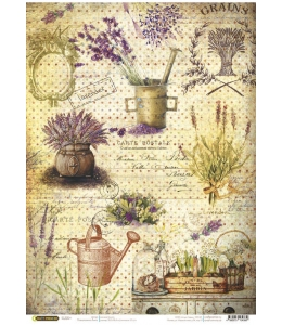 "Рисовая бумага CP04389 ""Лаванда в саду"", 28,2х38,4см, Craft Premier (Россия)"