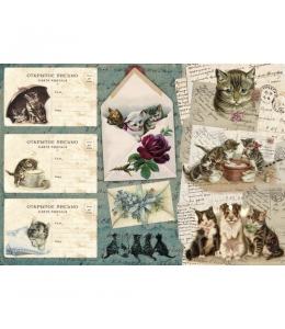"""Рисовая бумага CP04471 """"Открытки с кошками"""", 28,2х38,4см, Craft Premier (Россия)"""