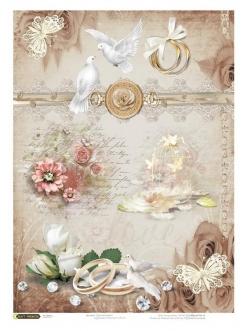 Рисовая бумага для декупажа Свадебные кольца,21x29,7см Craft Premier