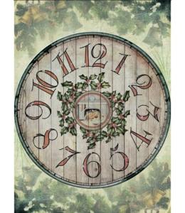 """Рисовая бумага CP05126 """"""""Рождественские часы, 28,2х38,4см, Craft Premier (Россия)"""