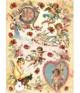 """Рисовая бумага CP05356 """"Ангелы и голуби"""", 28,2х38,4 см, Craft Premier (Россия)"""