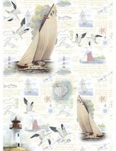 """Рисовая бумага CP05547 """"Отдых на море, яхты"""", 28,2х38,4см, Craft Premier (Россия)"""