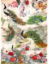"""Рисовая бумага CP06308 """"Павлины цветы"""", 28,2х38,4 см, Craft Premier (Россия)"""