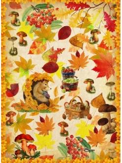 Рисовая бумага Осенние лисья, грибы, ежик,21x29,7см Craft Premier
