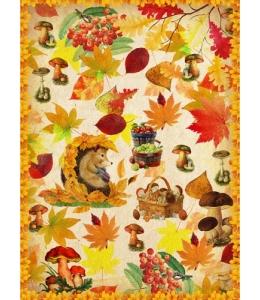 """Рисовая бумага """"Осенние лисья, грибы, ежик"""", 21x29,7см Craft Premier"""