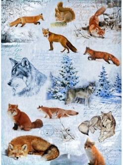 Рисовая бумага для декупажа Зима, волки и лисы, 28,2х38,4 см, Craft Premier (Россия)