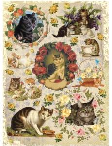 """Рисовая бумага """"Котята и розы"""" 21×29,7 см, Craft Premier"""