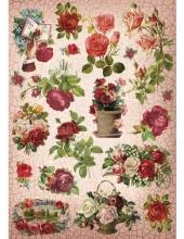 """Рисовая бумага CP09995 """"Кракелюровые розы"""", 28,2х38,4 см, Craft Premier (Россия)"""