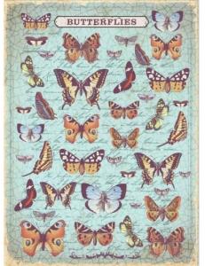 """Рисовая бумага """"Бабочки и рукописный текст"""" 21×29,7 см, Craft Premier"""