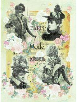 Рисовая бумага для декупажа Парижская мода, формат А4, Craft Premier