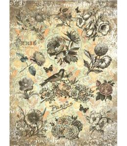 """Рисовая бумага CPD0540 """"Цветы Парижа"""", 28,2х38,4 см, Craft Premier (Россия)"""