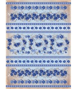 """Рисовая бумага CPD0563 """"Синие цветы и полоски"""", 21x29,7см Craft Premier"""