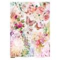 """Рисовая бумага CPD4537 """"Розовые цветы и бабочки"""", 28,2х38,4см, Craft Premier (Россия)"""