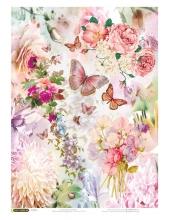 """Рисовая бумага """"Розовые цветы и бабочки"""", 21x29,7см Craft Premier"""