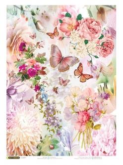 Рисовая бумага для декупажа Розовые цветы и бабочки, 21x29,7см Craft Premier