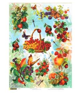 """Рисовая бумага CPD0629 """"Садовые ягоды"""", 28,2х38,4 см, Craft Premier (Россия)"""