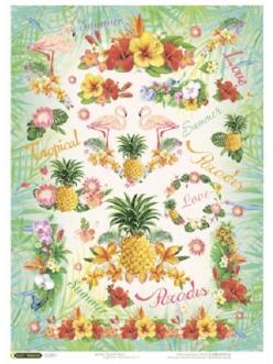 Рисовая бумага для декупажа Тропическое лето, формат А4, Craft Premier