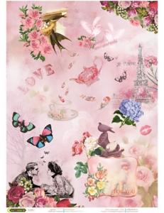 """Рисовая бумага """"Любовь и бабочки"""" 21×29,7 см, Craft Premier"""