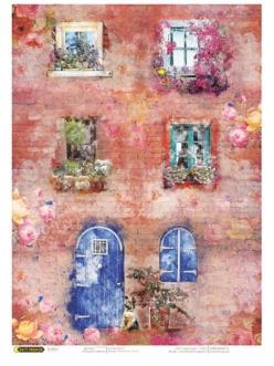 Рисовая бумага для декупажа Окна в цветах, 21x29,7см Craft Premier