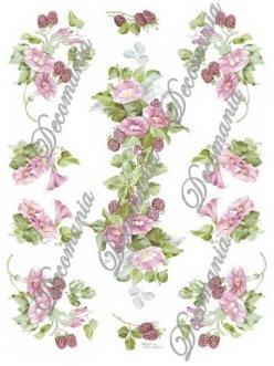"""Декупажная карта Decomania №006 bis  """"Вьюнок розовый и малина"""", 30х42см"""