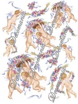 """Декупажная карта Decomania №041 bis """"Ангелочки с цветами и лентами"""", 30х42см"""