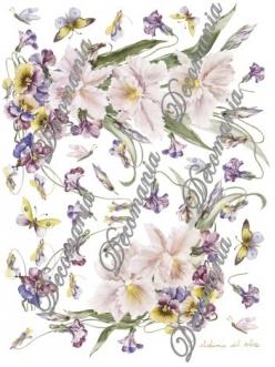 "Декупажная карта Decomania №087 ""Орхидеи, фиалки и бабочки"", 30х42см"