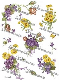 """Рисовая бумага Decomania 5004 """"Фиалки, розы и ромашки"""", 35х50см"""